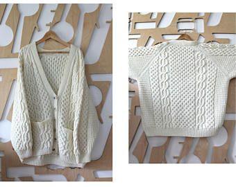SALE Handmade Aran jumper Fisherman's sweater Irish sweater Celtic Wool cardigan Traditional Aran Sweater Personalised Gift Made in Ireland