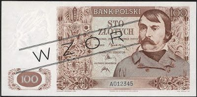 Currency of Poland - 100 Polish złoty banknote of 1939 (not issued). Bank Polski - Bank of Poland - Government of the Republic of Poland in exile during World War II. Polish złoty, Polish banknotes, Poland banknotes, Polish bank notes, Polish paper money, Poland bank notes, Poland paper money.  Obverse: Portrait of a man from Masuria and ornament in floral style. Reverse: Beautiful river scene - Benedictine Abbey by the Vistula river in Tyniec, near Krakow.