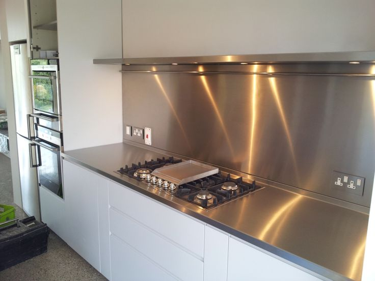 Beautiful Stainless Steel Splashback And Worktop To Domestic Kitchen