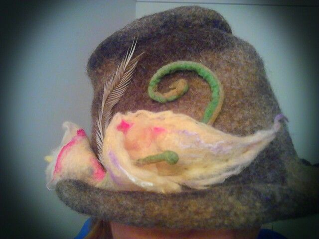 Wet felted Hat finally finished !!!