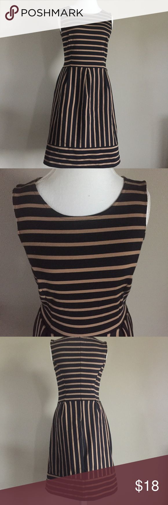 Merona Ponte Stripe Dress with Pockets Great dress for work or going out  in great condition and even has pockets! Size M and is stretchy. No trades. Merona Dresses Midi