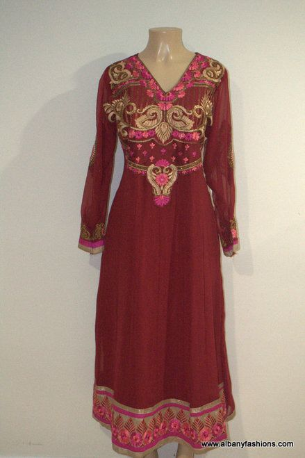 2859-Anarkali Churidar Suit-Red