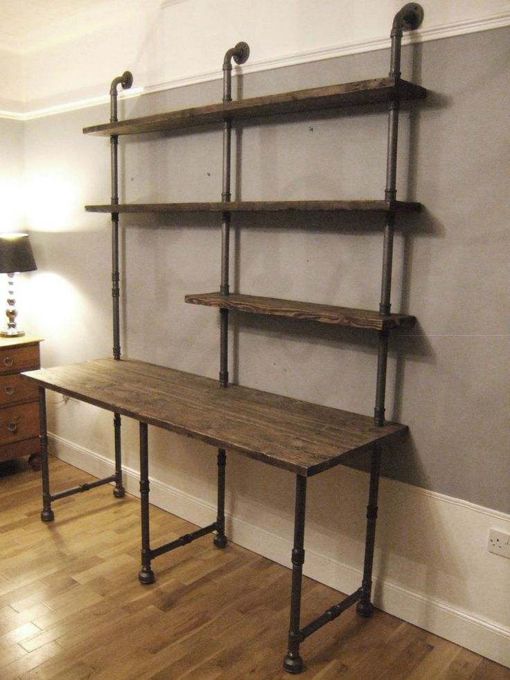 Vintage Industrial Desk & Shelving Unit Iron Gas Pipe & Reclaimed Timber Planks This person also sellls wooden tops in reclaimed wood.