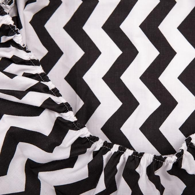 Cot Bed Fitted Sheet 100% COTTON Grey Black Chevron Zig Zag Clouds  Bedding