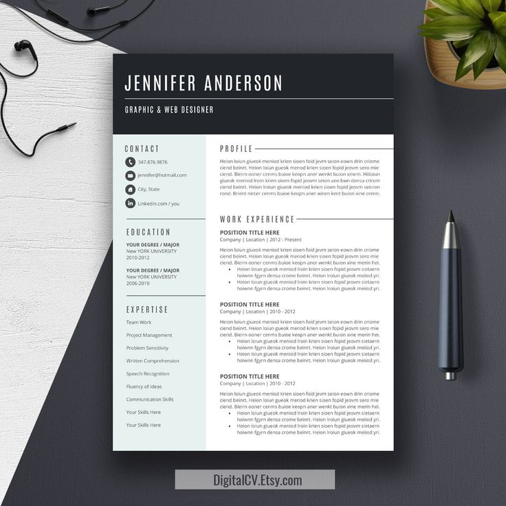 22 best resume templates images on pinterest cv template teacher resume template cover letter cv professional modern creative resume template ms word for mac pc us letter best cv yelopaper Images