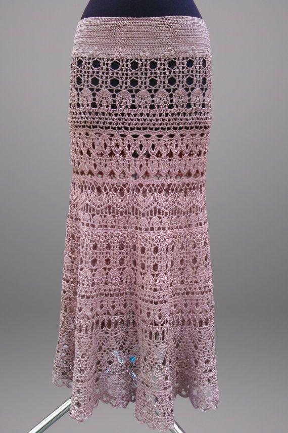 Crochet falda de la señorita. Desierto levantó por TsarevaCrochet