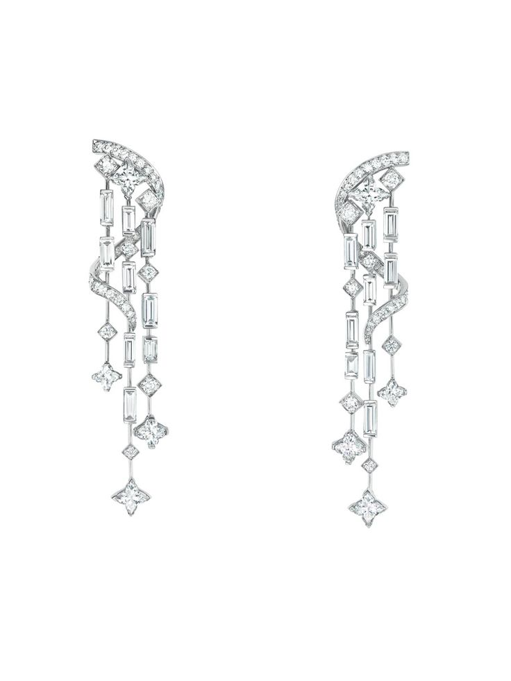 Louis Vuitton 'Diamond Falls' earrings, worn by Léa Seydoux. #Cannes2013
