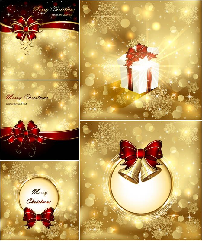 Golden Snowflake Christmas Backgrounds Vector