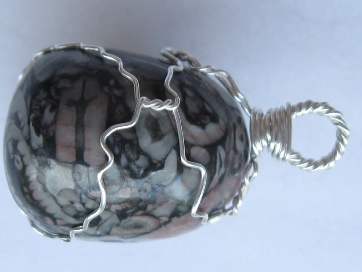 Crinoide stone pendant wire wrapped in sterling silver