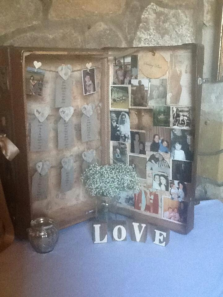 this is my vintage table plan made from an old suitcase. All the hard work was worth it. I love it !!!!!!