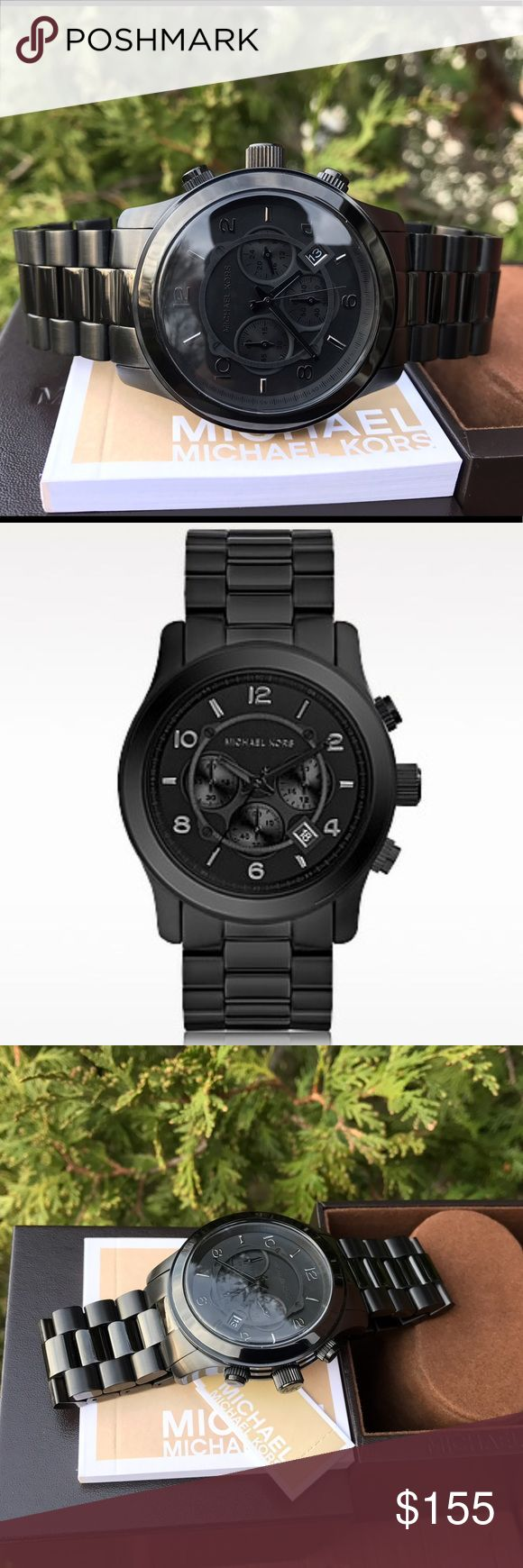New Men's Michael Kors 45mm MK Runway Watch MK8157 🔥 LAST 1! 🔥 New Authentic MK8157 💎 Model: Runway 💎 Retail: $275 / Black stainless steel band with chronograph dial / Michael Kors watch box and owners booklet included / 45mm case / 10 ATM / UPC: 691464611668 / No trades. Buy now or offer only / Same business day shipping. Michael Kors Accessories Watches