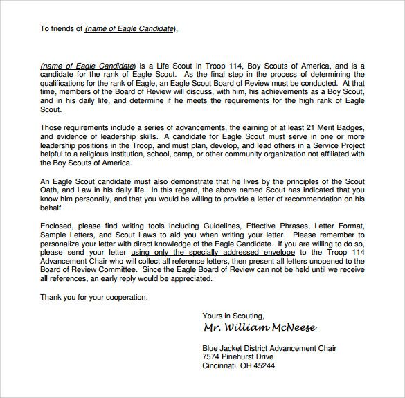 11 best Eagle scout letters of recommendation images on Pinterest - example of recommendation letters