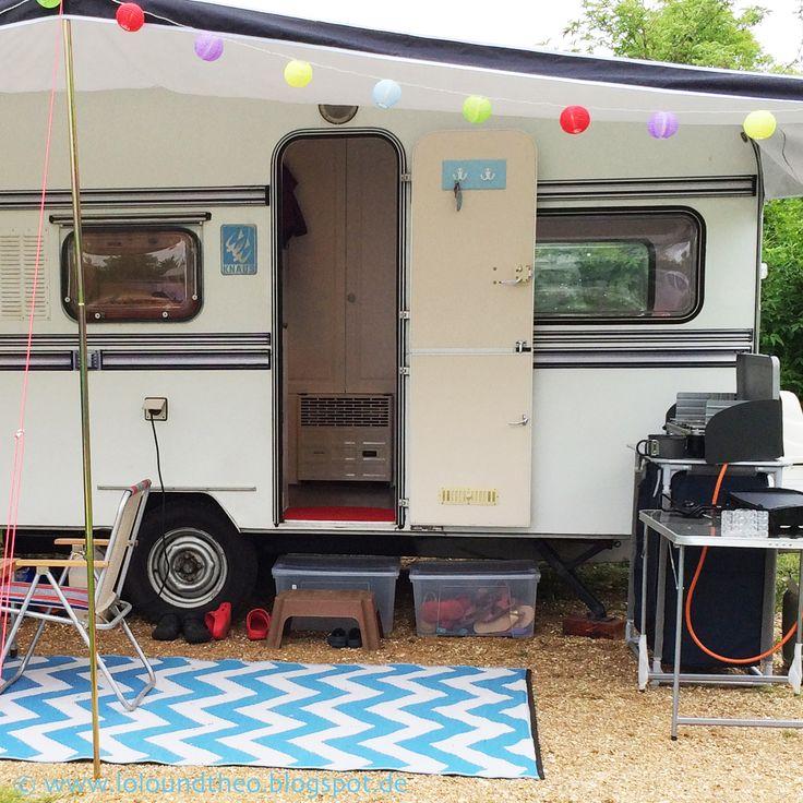 Urlaub mit dem Wohnwagen, Wäscheleine, Camping, Campingplatz, Außenküche, DIY, Kissen, Anker, maritim, praktisch