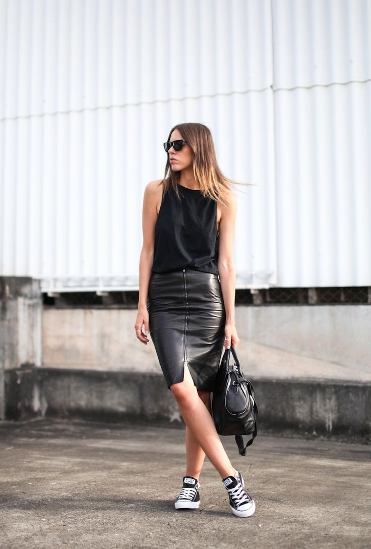 Black muscle tank top, black leather pencil skirt, black Converse sneakers