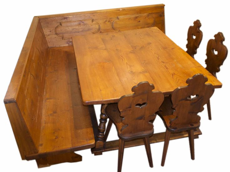 Vintage German Table Bench And 4 Bavarian Chairs