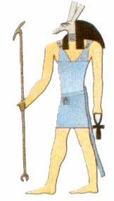 Seth : le dieu du désert, du mal Seth est l'assassin d'Osiris, il  passe pour ambitieux, comploteur et tente de détruire l'harmonie du monde. Seth est représenté comme un homme athlétique avec un corps rouge (la couleur du désert) et une tête d'animal indéterminé (âne? chien? girafe?) : un long museau, des yeux clairs, de longues oreilles droites aux extrémités carrées, des cheveux roux (couleur du mal), une queue fourchue.