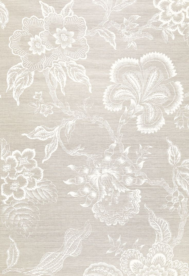 Wallcovering / Wallpaper | Hothouse Flowers Sisal in Fog & Chalk | Schumacher