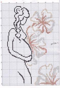 0 point de croix silhouette femme enceinte et fleurs - cross stitch pregnant girl and flowers