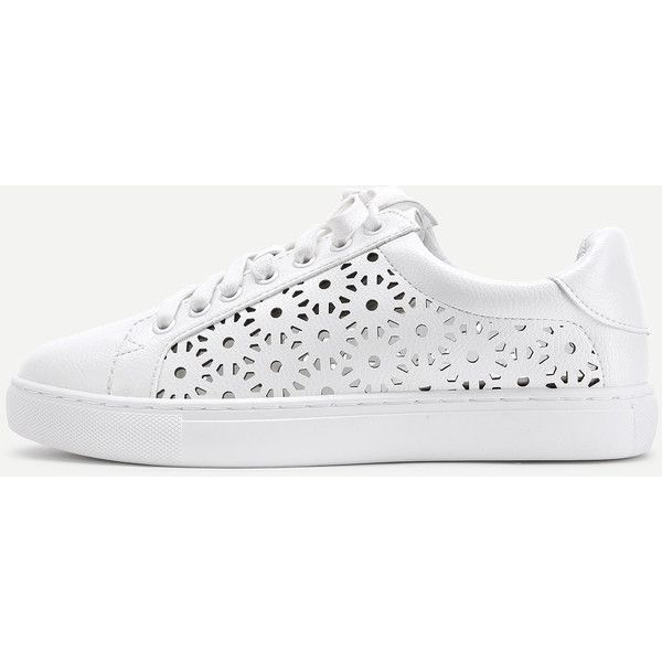 Laser Cut Lace Up PU Sneakers ($41) ❤ liked on Polyvore featuring shoes, sneakers, cutout sneakers, platform flats, cut-out sneakers, laced flats and platform shoes