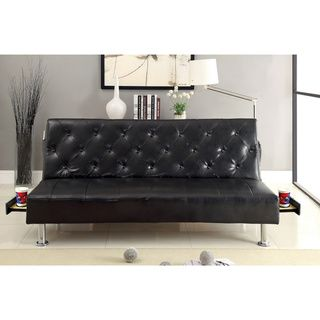 Furniture Of America Enzhell Contemporary Tufted Leatherette Futon Sofa  With Hidden Tray (Black Leatherette), Size Full