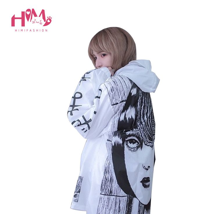 Japanese Horror Manga Trench Women/Men Cute Thin Thriller Cartoon Jumper Trenches For Lovers Long Autumn Rain Proof Trench Coats