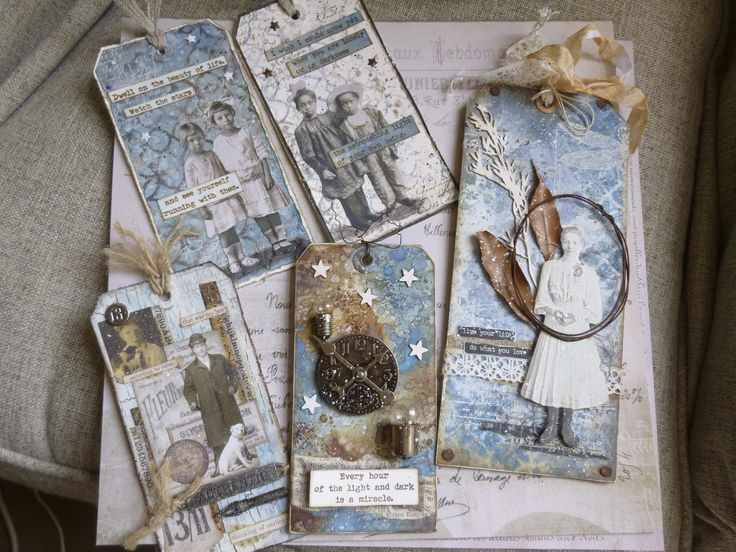Tag Series - Blues and Neutrals, Distress Oxides and Alison Bomber stamps at Words and Pictures