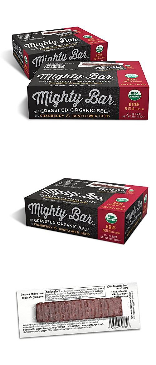 Mighty Organic, 100% Grassfed Organic Beef Mighty Bar, Cranberry and Sunflower Seed, 1oz, 2-12 packs, (24 Bars)
