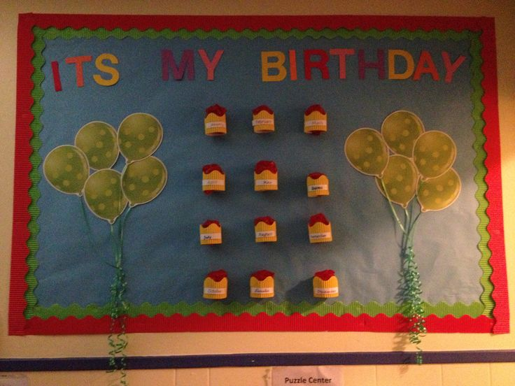 Preschool classroom happy birthday bulletin board class for Decorating bulletin boards for work