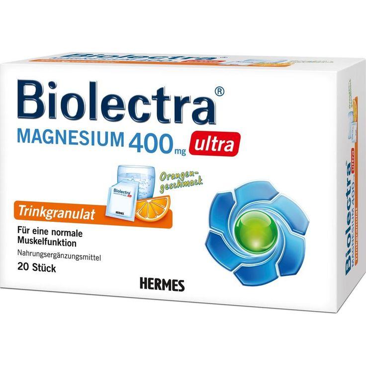 BIOLECTRA Magnesium 400 mg ultra Trinkgran.Orange:   Packungsinhalt: 20 St Granulat PZN: 10914511 Hersteller: HERMES Arzneimittel GmbH…