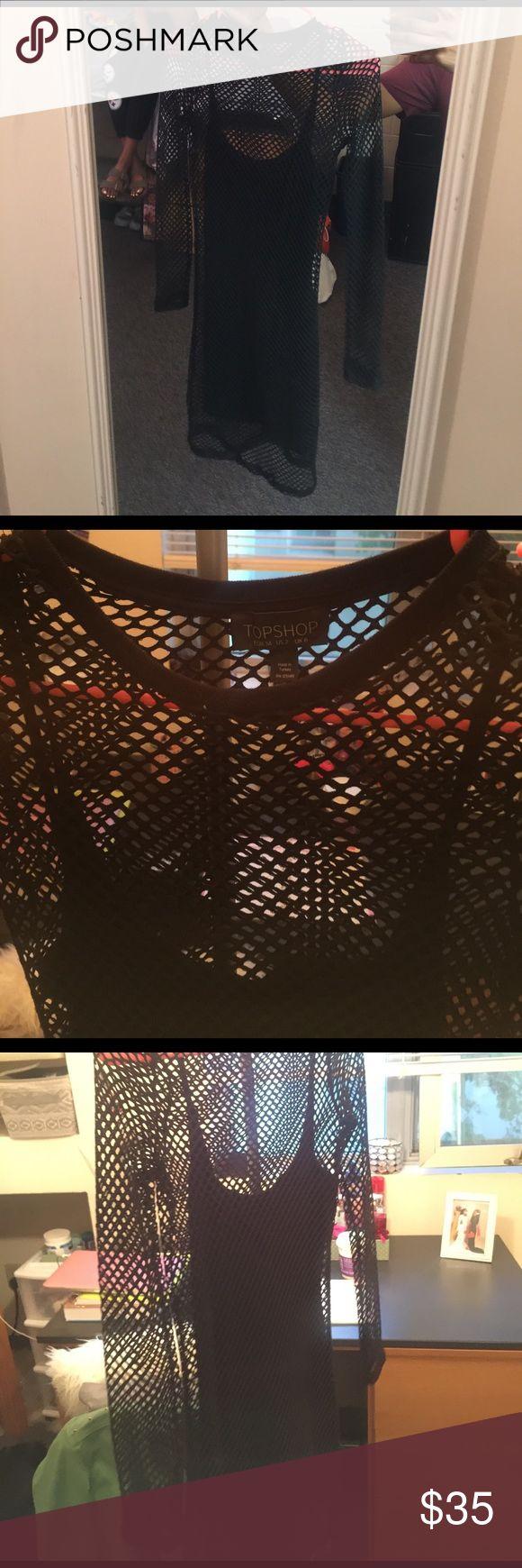 Fishnet dress Fishnet dress with solid black slip under.. mini dress.. fits like a size small worn once Topshop Dresses Mini