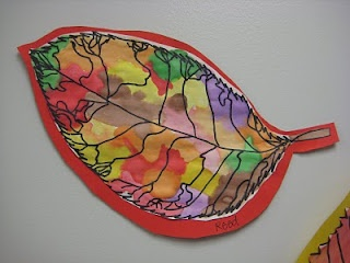 2nd graders talked all about the different kinds of lines that artists use...and also how to use watercolor paint. After they drew a leaf and outlined it in Sharpie marker, I showed them a 'wet on wet' technique and they tested it out first on small scraps of paper. Then they set to work on their colorful fall leaves..