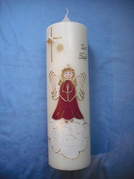 """Taufkerzen - TK""""Schutzengel mit Kerze+Kreuz,Taube,Sonne""""... - ein Designerstück von Bastelevi bei DaWanda"""