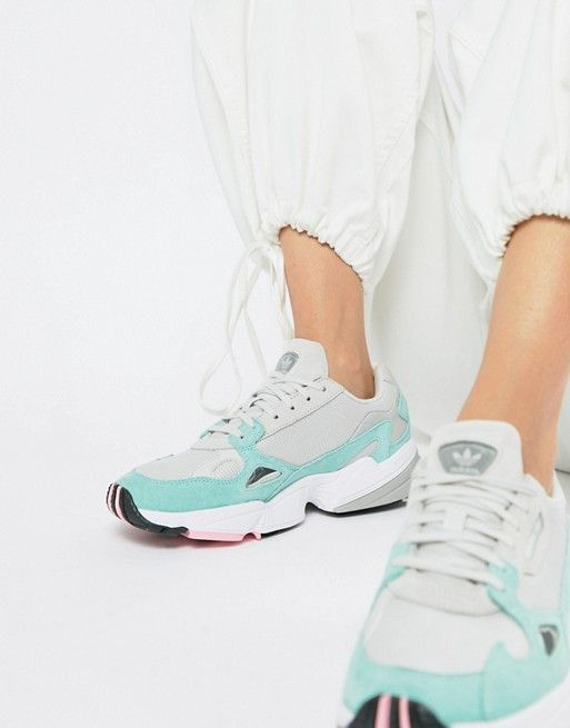 Adidas Originals Falcon Trainer In Grey And Mint I Want It List