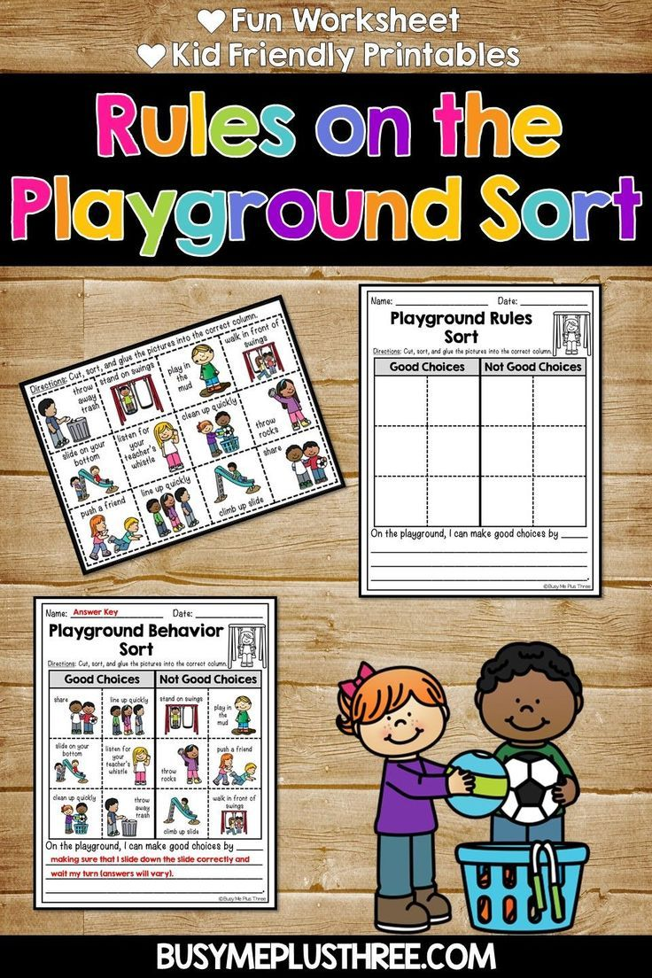 Rules on the Playground Sorting Activity for Students in Kindergarten [ 1104 x 736 Pixel ]