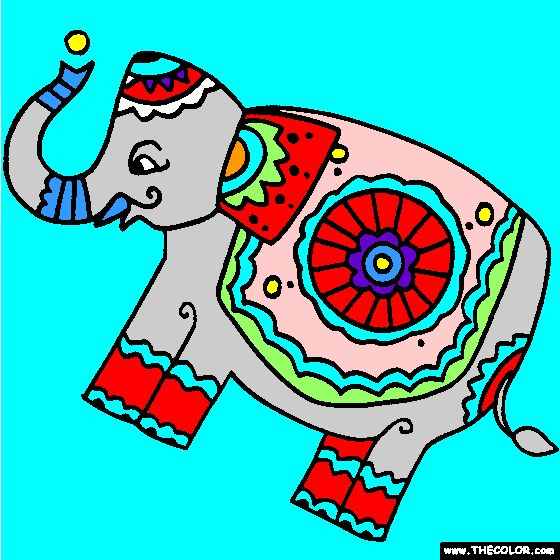 ornateelephantfolkartcoloringpage
