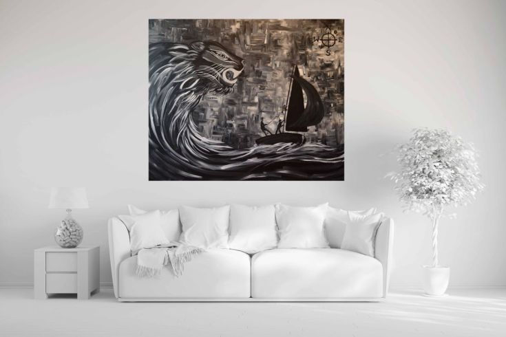 Buy Sailing Out Of The Storm And Heading Home - Black and White, Acrylic painting by Zena Cameron on Artfinder. Discover thousands of other original paintings, prints, sculptures and photography from independent artists.