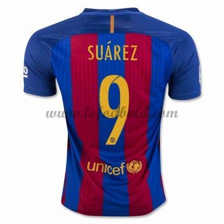 Billige Fodboldtrøjer Barcelona 2016-17 Suarez 9 Kortærmet Hjemmebanetrøje