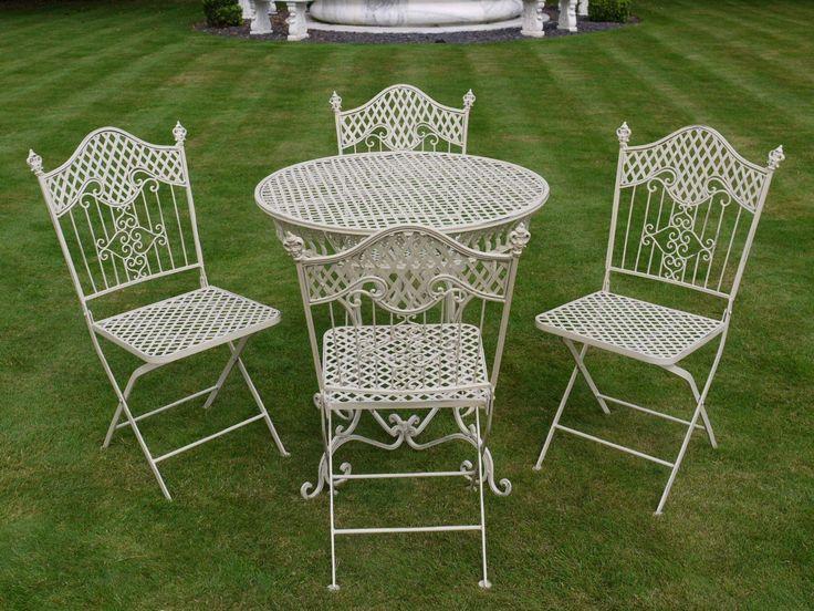 French Ornate Cream Wrought Iron Metal, White Wrought Iron Garden Furniture Uk