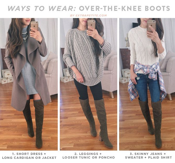 af0ffec4d01214 Fall Trends: 4 (Petite Friendly) Ways To Style Over The Knee Boots |  Fashion Tips | Fashion, Winter boots outfits, Tall boots outfit