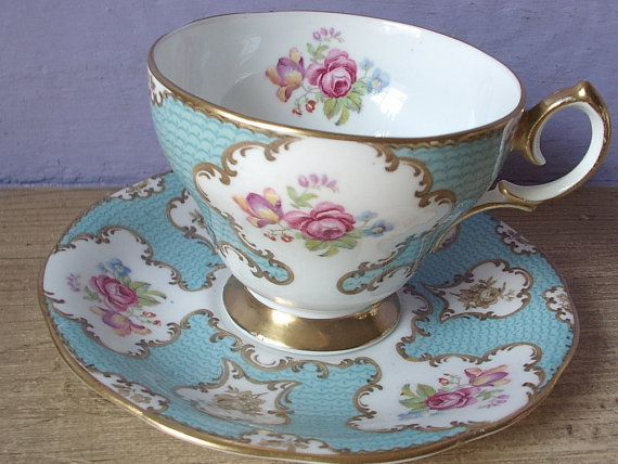 Antique blue tea cup set, vintage Queen Anne English tea cup and saucer, gold blue and white bone china tea set, pink roses tea cup via Etsy