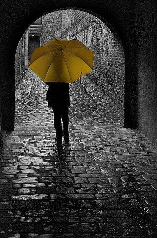 Yellow umbrella- The umbrella's vibrancy helps it to stand out against the dark tones of the street.