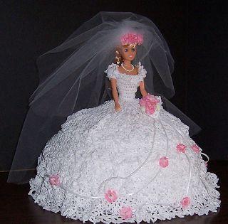 Vestido de noiva de crochê para Barbie   Crocheart