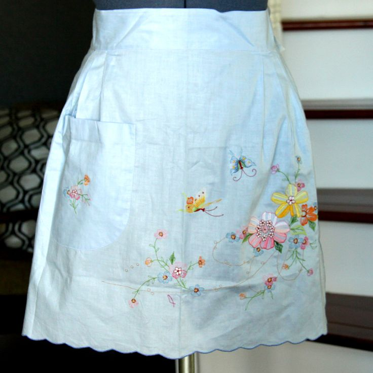 Blue Half Apron Vintage, Embroidered Flower Butterflies Half Apron, Aprons for Women, Half Aprons for Sale, Womens Aprons by ludysan on Etsy
