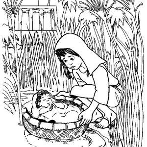 Moses, Put Baby Moses To Basket To Save Him Coloring Page: Put Baby Moses to Basket to Save Him Coloring Page