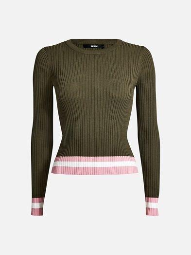 Rib knit round neck top with stripy bottom hem and cuffs.  Armeijanvihreä