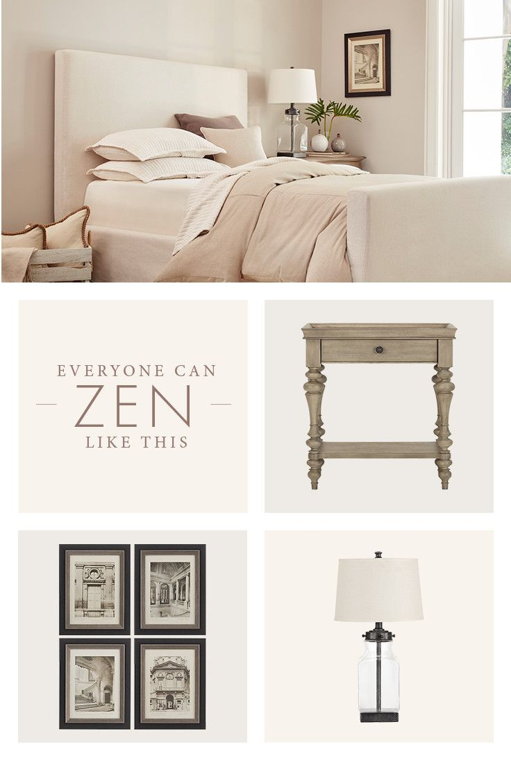 Live in relaxation! Use neutral shades to add comfort. Then add charm with subdued accent pieces like a bedside table, wall art, or lamp.
