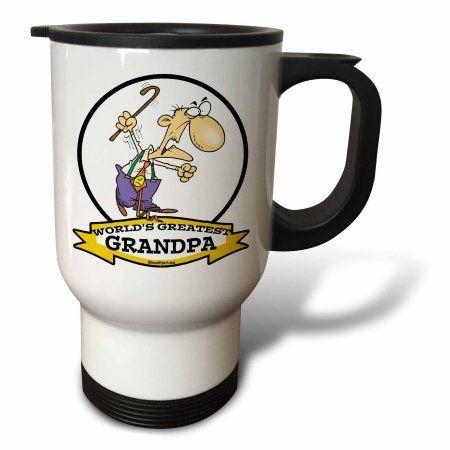 3dRose Funny Worlds Greatest Grandpa Cartoon, Travel Mug, 14oz, Stainless Steel