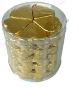A cylinder of 50 Large Romeo Gold Embossed Foil Chocolate Hearts.
