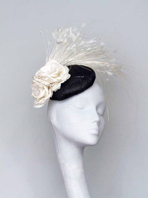 Black and White Fascinator Headpiece by CoggMillinery on Etsy