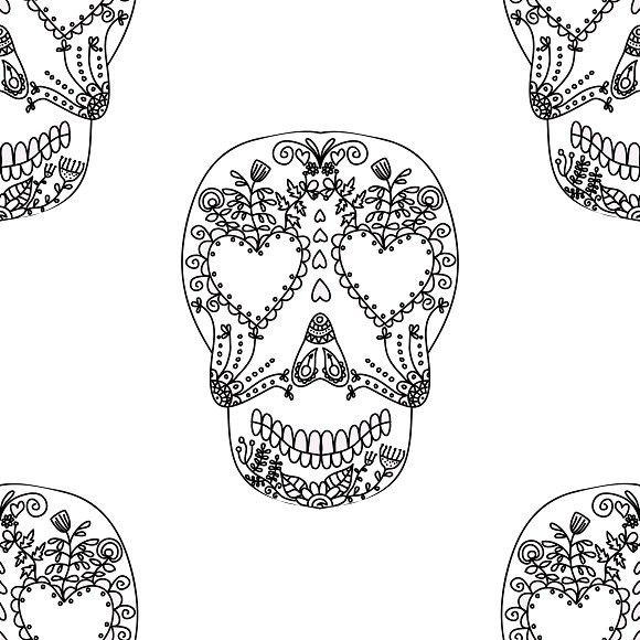 Day of Dead Halloween colorful skull. Patterns